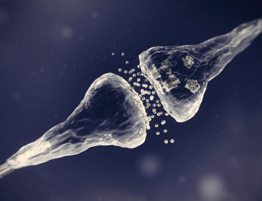 Neuronal synapse with neurotransmitters, pain signals.